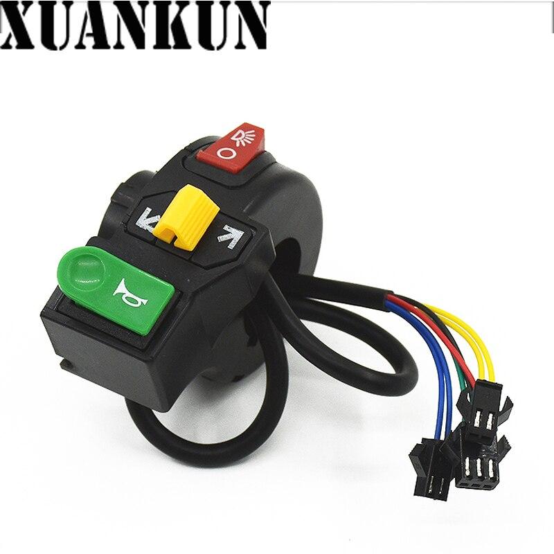 [해외]XUANKUN Electric Car Combination Switch Tricycle Button Horn Direction Light Headlight Three in One Faucet Switch Button/XUANKUN Electric Car Comb