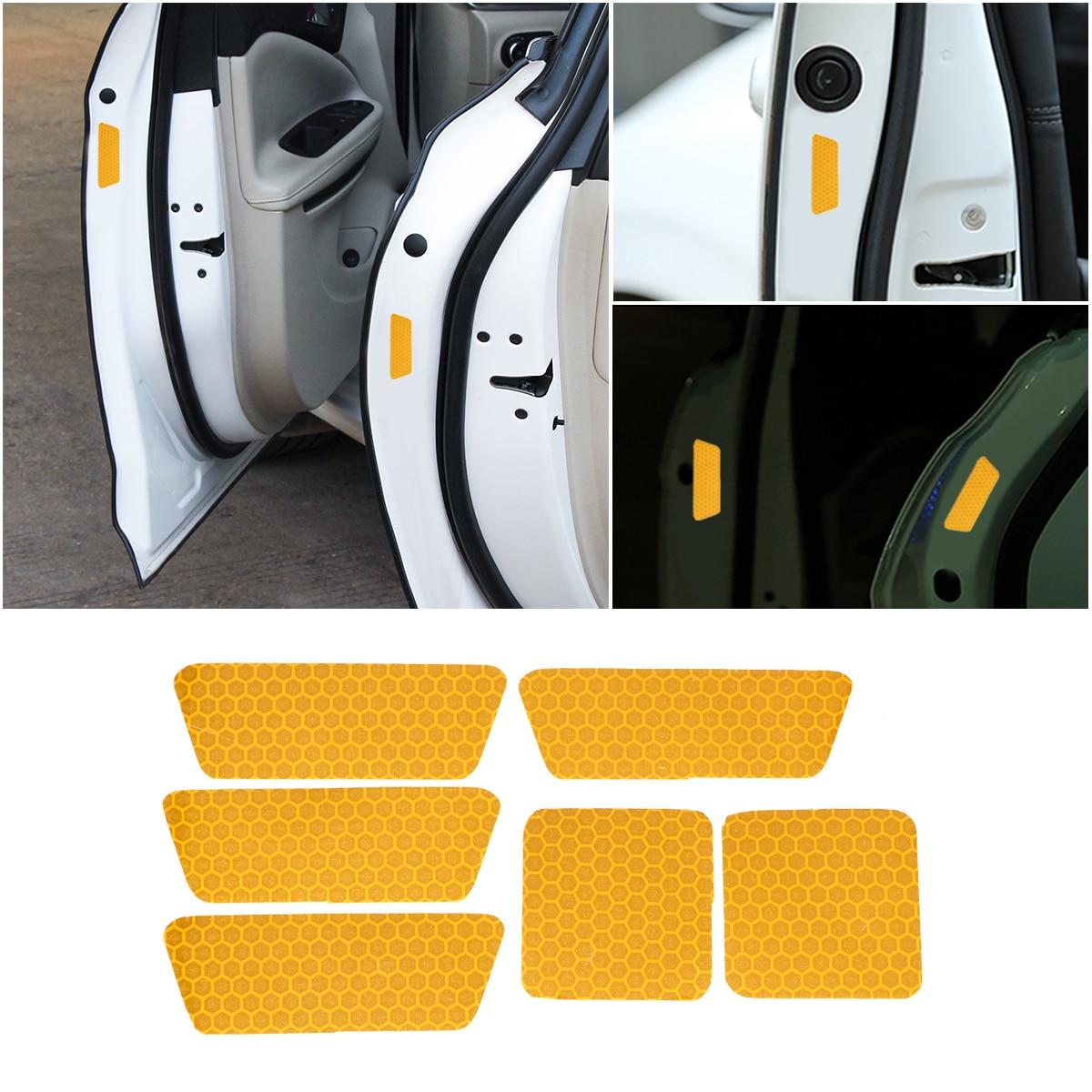[해외]4PCS Reflective Car Stickers Wheel Brows Car Door Stickers Anti-Collision Reflective Bar Golden Night Warning Sticker/4PCS Reflective Car Stickers