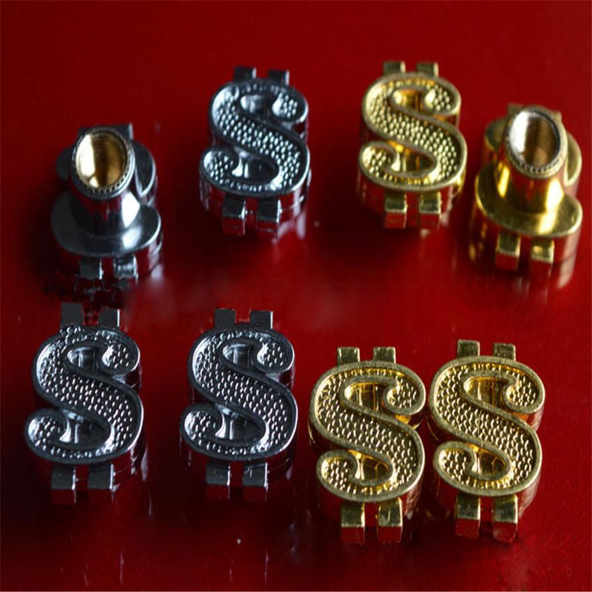[해외]4 개 / 많은 2015 황동 소재 자동차 휠 타이어 밸브 캡 줄기 골드 달러 디자인 공기 먼지 캡 도착 새로운/4Pcs/Lot 2015 new arrive brass material car wheel tire valve cap stem gold dollar d
