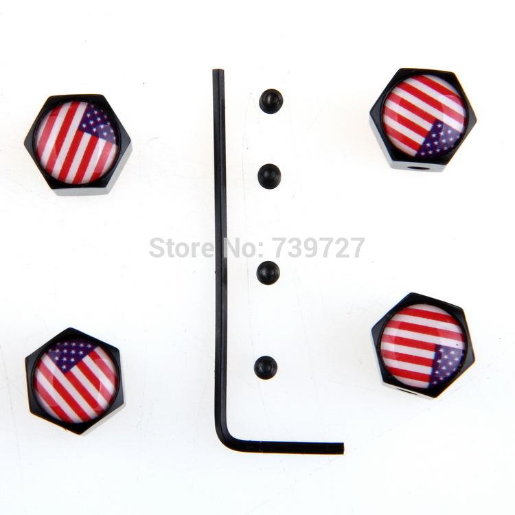 [해외]1 세트 Theftproof 스테인레스 스틸 4 개 미국 국기 자동차 휠 타이어 밸브 타이어 줄기 에어 커버 블랙 VENTIL Ventiel Valvae 모자/1 Set Theftproof Stainless Steel 4pcs American Flag Car W