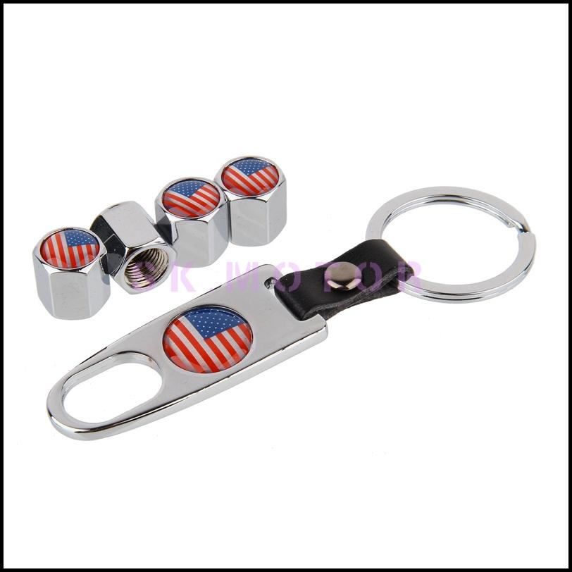 [해외]10Set / 부지 미국 국기 로고 금속 자동차 타이어 타이어 밸브 캡 에어 먼지 + 도구 렌치 키 체인 커버 줄기/10Set/Lot Wholesale American flag Logo Metal Car Tyre Tire Valve Stem Cap Air Dus
